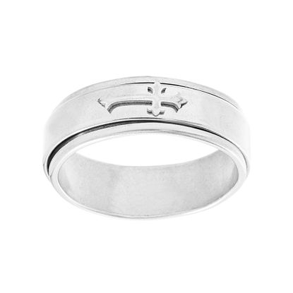 Imagen de Men's Polished Edge Cross Center Band Ring in Stainless Steel