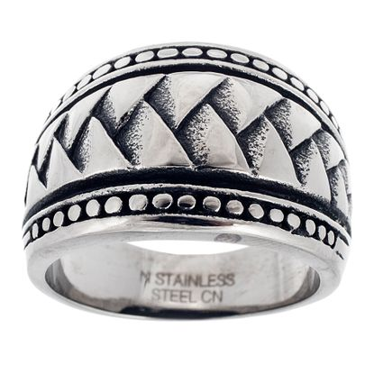 Imagen de Men's Stainless Steel Oxidized Braided Band Ring