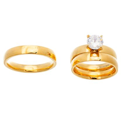 Imagen de Gold-Tone Stainless Steel  Cubic Zirconia 4 Prong Circle Solid Band Trio Engagement Ring