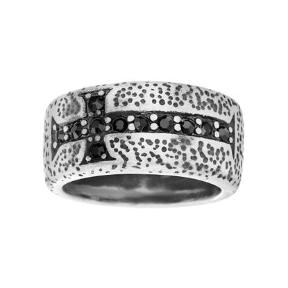 Imagen de Silver-Tone Stainless Steel Men's Black Cubic Zirconia Cross Aged Finished Band Ring Size 10