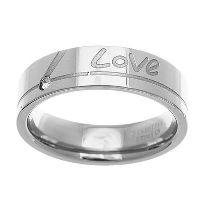 Imagen de Men's Polished Love Band Ring in Stainless Steel