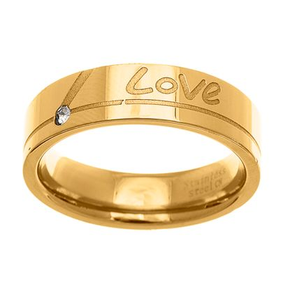 Imagen de Gold-Tone Stainless Steel Men's Crystal Love Engraved Band Ring Size 10