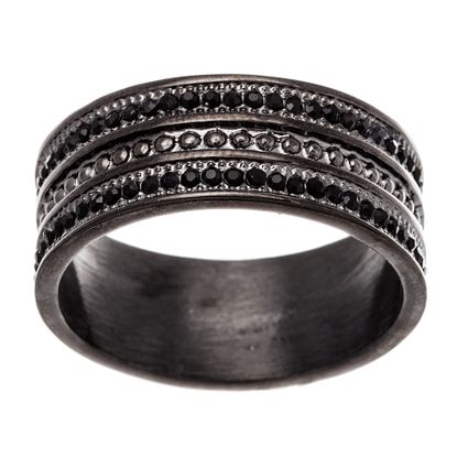 Imagen de Black-Tone Stainless Steel Men's Black Crystal Beaded Texture Eternity Band Ring Size 9
