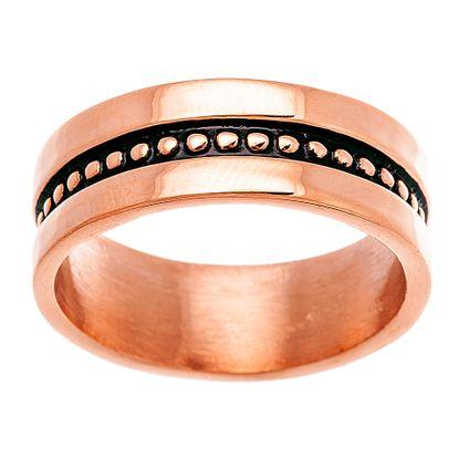 Imagen de Two-Tone Stainless Steel Beaded Center Eternity Band Ring 10