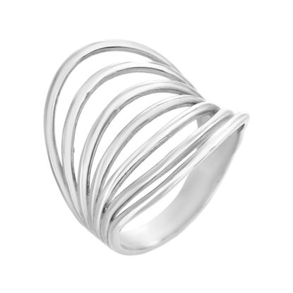 Imagen de Wide Curved Multi-Strand Concave Ring in Stainless Steel