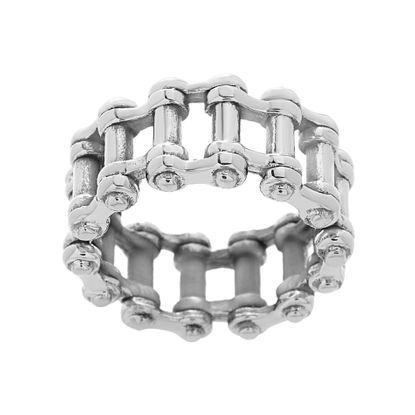 Imagen de Men's Stainless Steel Oxidized Long Cylinder Link Ring