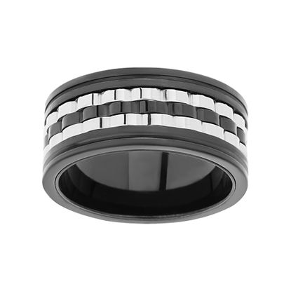 Imagen de Men's Two-Tone Stainless Steel Trio Wavy Spinner Ring