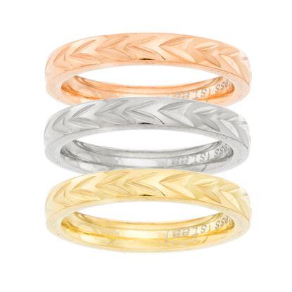 Imagen de Tri-Tone Stainless Steel V Design Wedding Ring Set