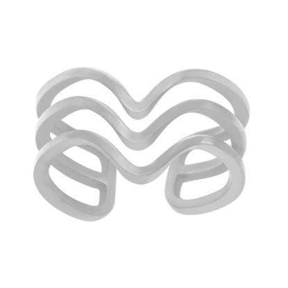 Imagen de 3 Row V Shape Cuff Ring in Stainless Steel