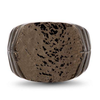 Imagen de men's Black-Tone Stainless Steel Geometric Textured IP Ring