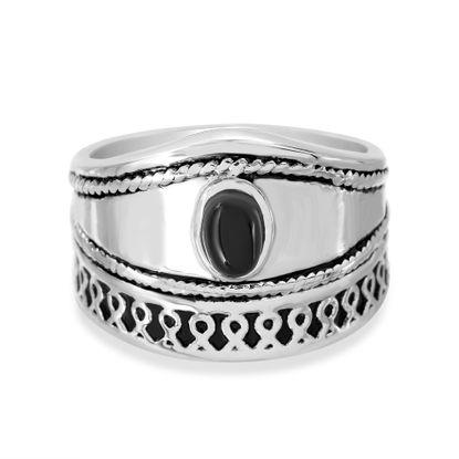 Imagen de Men's Silver-Tone Stainless Steel Black Oval Center Ring