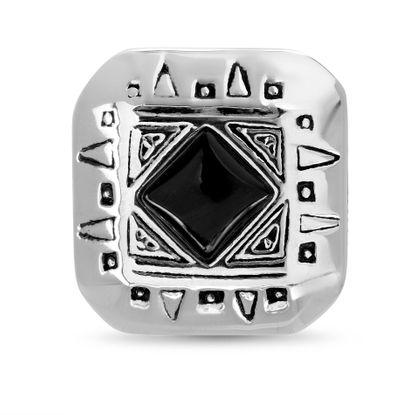 Imagen de Stainless Steel Oxidized Diamond Center Band Ring