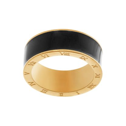 Imagen de Gold-Tone Stainless Steel Black Enamel Center with Roman Numerals Ring Size 7