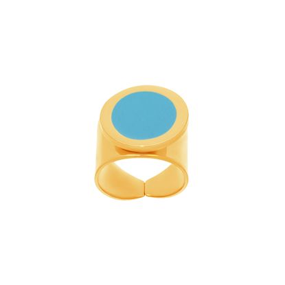 Imagen de Gold-Tone Stainless Steel Flat Turquoise Stone Thick Band Ring Size 8