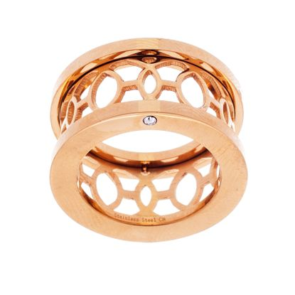 Imagen de Gold-Tone Stainless Steel Cubic Zirconia Open Oval Design Band Ring
