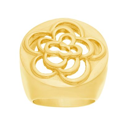 Imagen de Gold-Tone Stainless Steel Filagree Flower Design Wide Ring