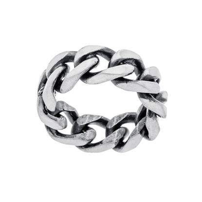 Imagen de Silver-Tone Stainless Steel Men's Curb Chain Eternity Band Ring Size 10