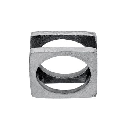 Imagen de Silver-Tone Stainless Steel Men's Oxidized Open Square Ring Size 10