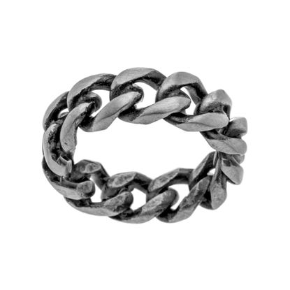 Imagen de Silver-Tone Stainless Steel Men's Oxidized Curb Chain Design Eternity Band Ring Size 10