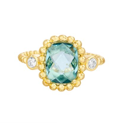 Imagen de Gold-Tone Stainless Steel Center Square Blue Topaz Glass Beaded Border/Band Ring Size 6
