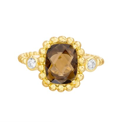 Imagen de Gold-Tone Stainless Steel Center Square Smokey Glass Beaded Border/Band Ring Size 6
