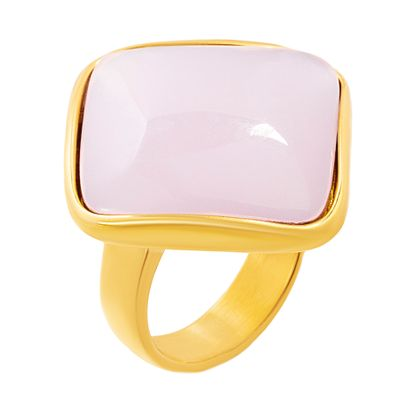 Imagen de Gold-Tone Stainless Steel Diamond Shape Rose Quartz Ring Size 9