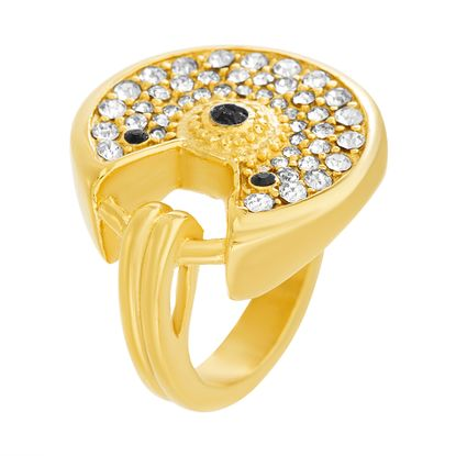 Picture of Gold-Tone Stainless Steel Cubic Zirconia Round Open Ring Size 8