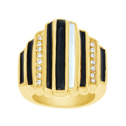 Imagen de Gold-Tone Stainless Steel Freshwater Pearl and Cubic Zirconia  9 Bar Design Ring
