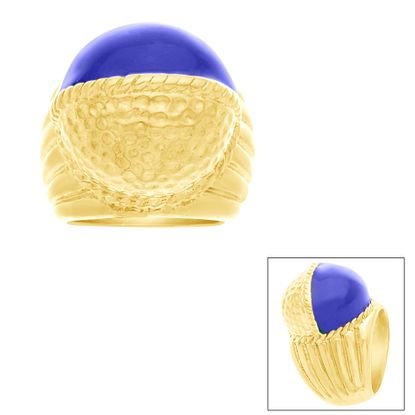 Imagen de Gold-Tone Stainless Steel Royal Blue Round  Dome Ribbed Shank Ring