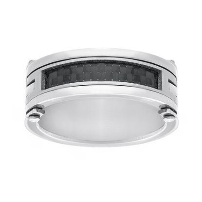 Imagen de Silver-Tone Stainless Steel Men's Black Carbon Fiber Center Row Band Ring Size 10