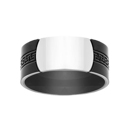 Imagen de Two-Tone Stainless Steel Black Greek Key Design Band Ring Size 10