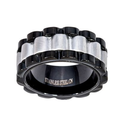 Imagen de Two-Tone Stainless Steel Black Wavy Design Eternity Band Ring Size 10