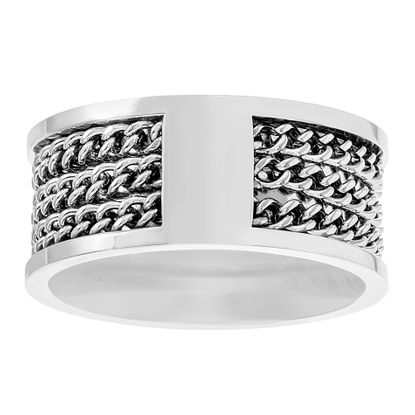 Picture of Steve Madden Oxidized Stainless Steel Triple Curb Chain Design Statement Ring for Men (Size 10)