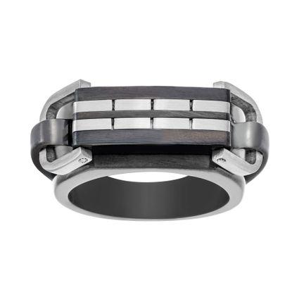 Imagen de Two-Tone Stainless Steel Mens Cut Stripe Design Ring Size 9