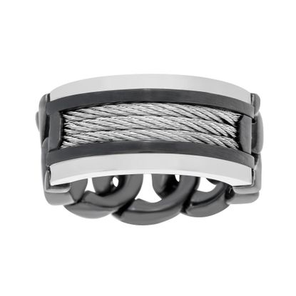 Imagen de Two-Tone Stainless Steel Men's Wire Design and Curb Chain Band Ring Size 10