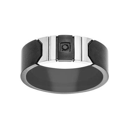 Imagen de Two-Tone Stainless Steel Black Double Geometric Shape with Square Center Band Ring Size 9