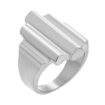 Imagen de Silver Tone Stainless Steel Ribbed Bar Design Ring Size 6