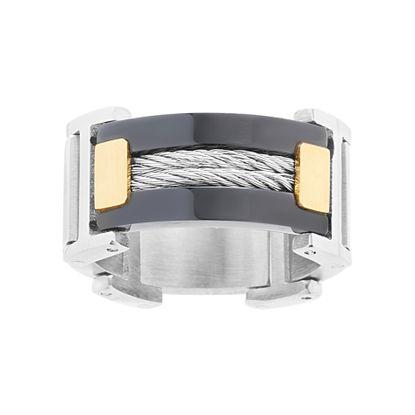 Imagen de Men's Wire Design Ring in Three Color Stainless Steel