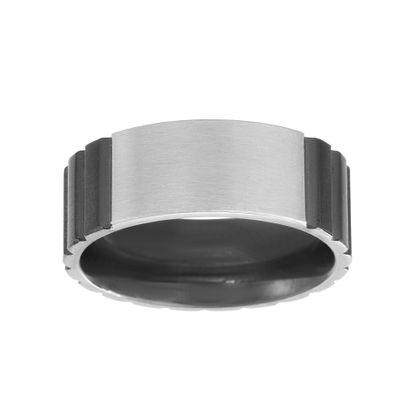 Imagen de Two-Tone Stainless Steel Men's Polished Texture Band Ring Size 9