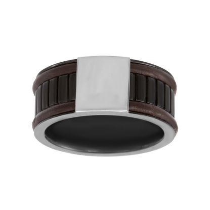 Imagen de Polished Bar with Brown Leather Border Eternity Ring in Two-Tone Stainless Steel