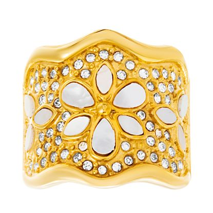Imagen de Gold-Tone Stainless Steel Mother of Pearl & Crystal Floral Design Wavy Ring Size 6