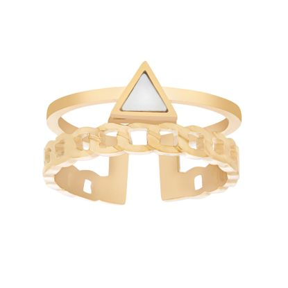 Imagen de Gold-Tone Stainless Steel Triangle Mother of Pearl Curb Chain Design Open Work Ring Size 6