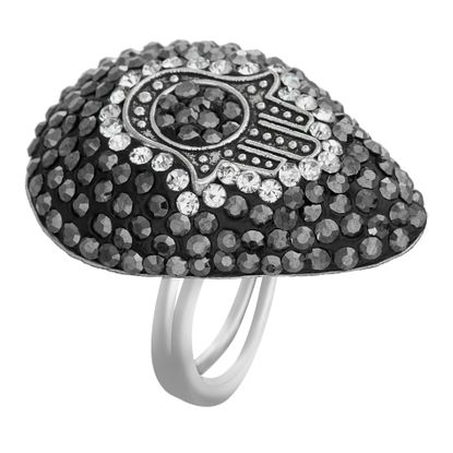 Picture of Black Teardrop Stone Hamsa Ring in Stainless Steel