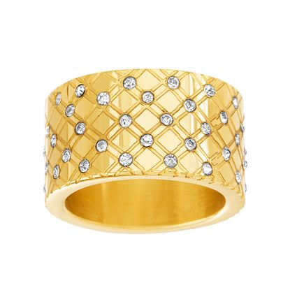 Imagen de Gold Plated Stainless Steel Diamond Design Bezel Pattern Band Ring