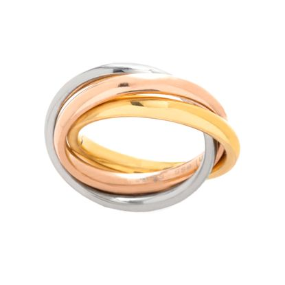 Imagen de Tri-Tone Stainless Steel 3 Layer Crossover Design Ring Size 6