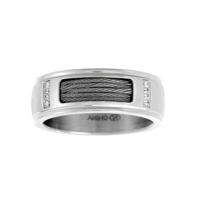 Imagen de Silver-Tone Stainless Steel Men's Wire Design Band Ring Size 10