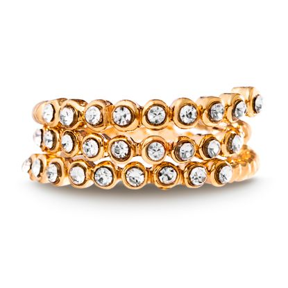 Imagen de Gold-Tone Alloy Cubic Zirconia Open Work Coiled Bypass Ring Size 6