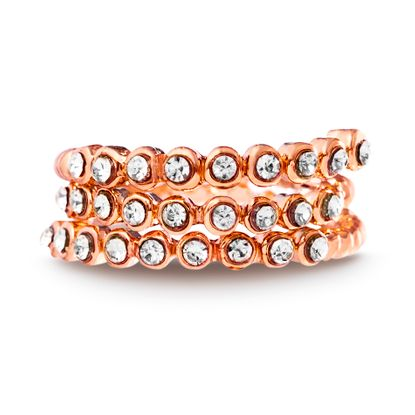 Imagen de Rose-Tone Alloy Cubic Zirconia Open Work Coiled Bypass Ring Size 6