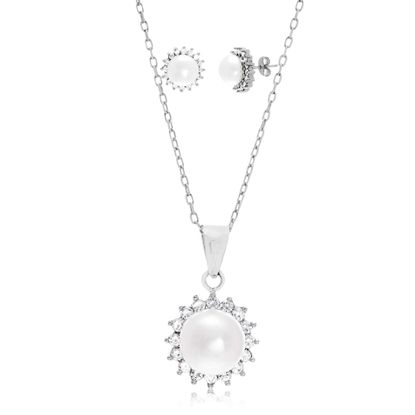 Imagen de Sterling Silver Cubic Zirconia Halo Freshwater Pearl Flower Design Pendant and Post Earring Set