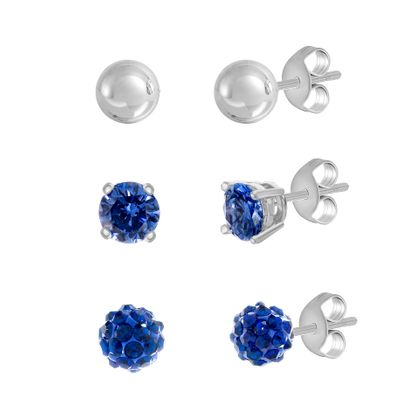 Imagen de E-Coat Sterling Silver 3 Piece Blue Cubic Zirconia BALL/Stud and Polished Ball Post Earring Set